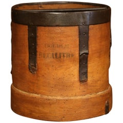 Mid-19th Century French Walnut and Iron Grain Measure Basket with Inside Handle