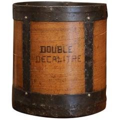 Mid-19th Century French Walnut and Iron Grain Measure Bucket