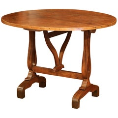 Mid-19th Century French Walnut Round Tilt-Top Wine Tasting Table from Burgundy