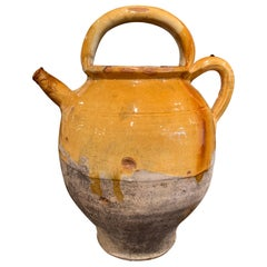 Mid-19th Century French Yellow Glazed Pottery Olive Oil Pitcher from Provence