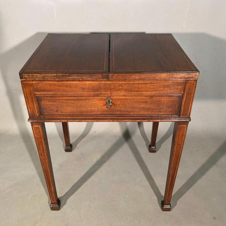 English Mid-19th Century Gentleman's Vanity Table, Stamped