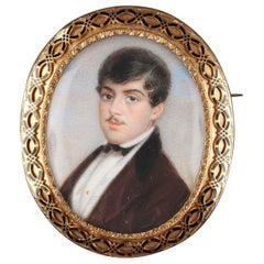 Mid-19th Century Gold and Enamelled Brooch with Miniature