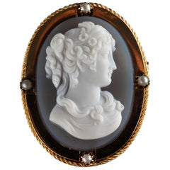 Mid-19th Century Gold Brooch-Pendant with Agate Cameo