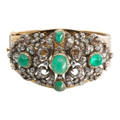 Mid-19th Century Gold, Emerald, and Diamond Bracelet