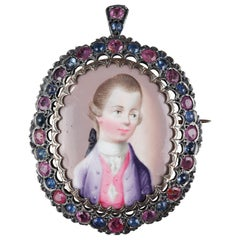 Mid-19th Century Gold Pendant with Miniature, Sapphires and Rubies