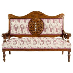 Mid-19th Century Hand Carved Mahogany Victorian Style Settee