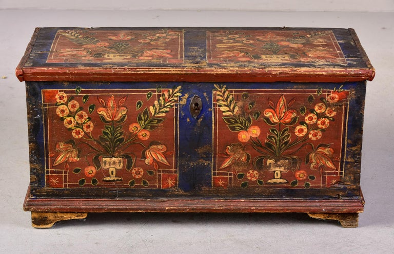 Folk Art Mid 19th Century Hand Painted Romanian Painted Trunk For Sale