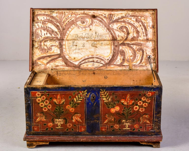 Mid 19th Century Hand Painted Romanian Painted Trunk In Good Condition For Sale In Troy, MI