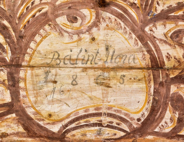 Wood Mid 19th Century Hand Painted Romanian Painted Trunk For Sale