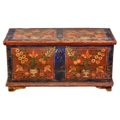 Mid 19th Century Hand Painted Romanian Painted Trunk