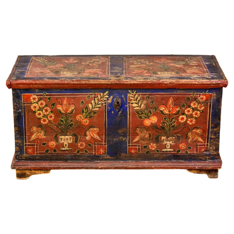 Mid 19th Century Hand Painted Romanian Painted Trunk For Sale