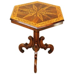 Mid-19th Century Hexagonal Specimen Woods Occasional Table