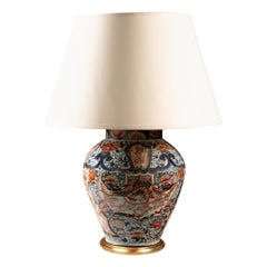 Mid-19th Century Imari Vase as a Table Lamp, Mounted with Giltwood Base