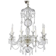 Mid- 19th Century Irish Crystal Eight-Light Chandelier in Georgian Style