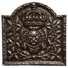 Mid-19th Century Iron Fireback with French Royal Coat of Arms and Fleurs-de-Lys