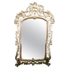 Mid-19th Century Italian Baroque Style Carved and Gilded Wood Large Wall Mirror