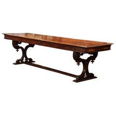 Mid-19th Century Italian Carved Walnut Renaissance Trestle Dining Table Desk