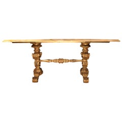 Mid-19th Century Italian Center Table in Mecca and Jaune de Sienne Marble