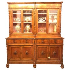 Mid-19th Century Italian Four Door Bookcase Two-Part Cherry Sideboard