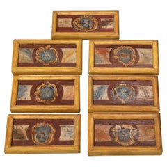 Mid-19th Century Italian Framed Hand Painted Wooden Wall Decors - Set of Seven
