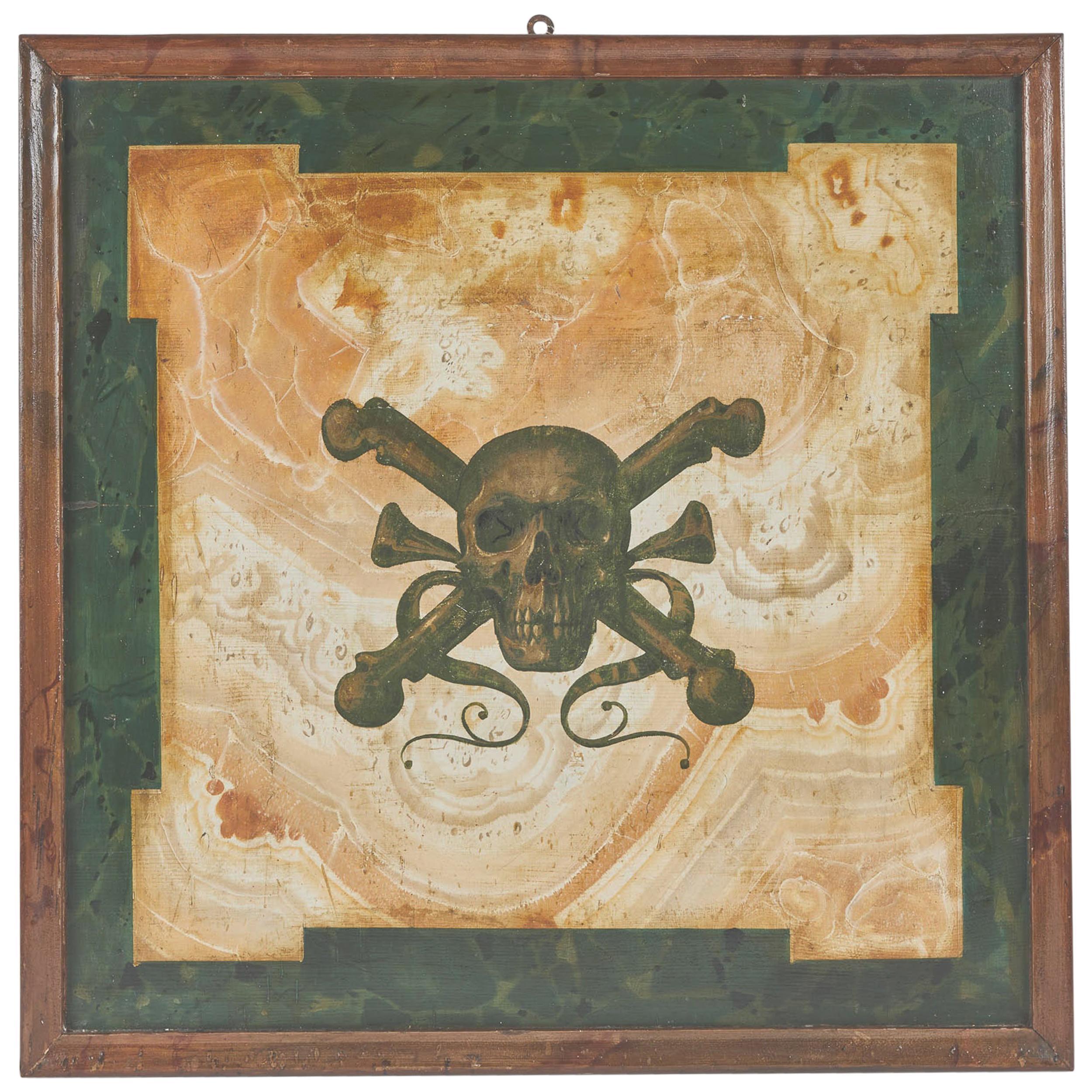 Mid-19th Century Italian Funerary Sign with Stylized Skull