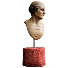 Mid-19th Century Italian Hand Carved Crib Figure Bust