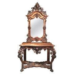Mid-19th Century Italian Hand Carved Walnut Console Table with Mirror