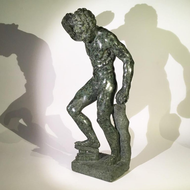 A charming late 18th century Italian sculpture in Marmo di Prato, a beautiful dark green marble.