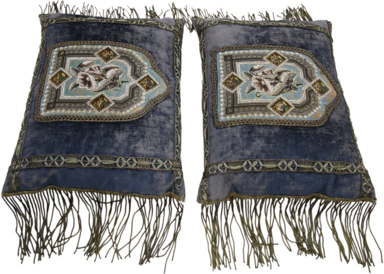 Mid-19th Century Italian Metallic Embroidered Velvet Pillows Metallic Fringe In Distressed Condition For Sale In Dallas, TX