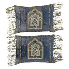 Mid-19th Century Italian Metallic Embroidered Velvet Pillows Metallic Fringe