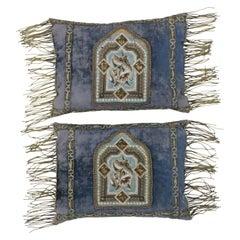 Mid-19th Century Italian Metallic Embroidered Velvet Pillows Metallic Fringe
