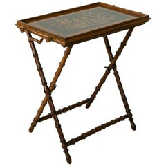 Mid-19th Century Italian Olive Wood Faux Bamboo Folding Tray Table or Side Table