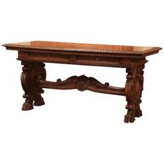 Mid-19th Century Italian Renaissance Revival Carved Walnut Writing Table Desk