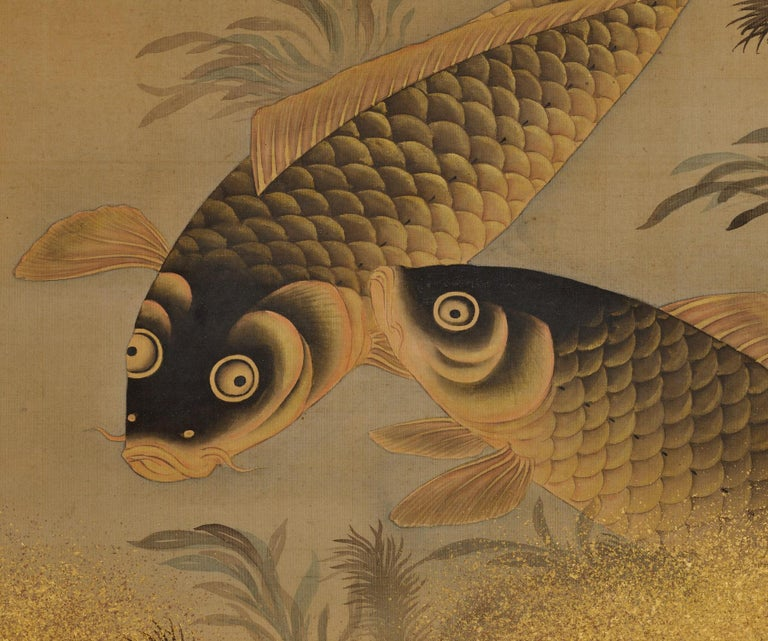 Edo  Japanese Painting, Hanging Scroll, Mid 19th Century, Koi and Water Plants For Sale