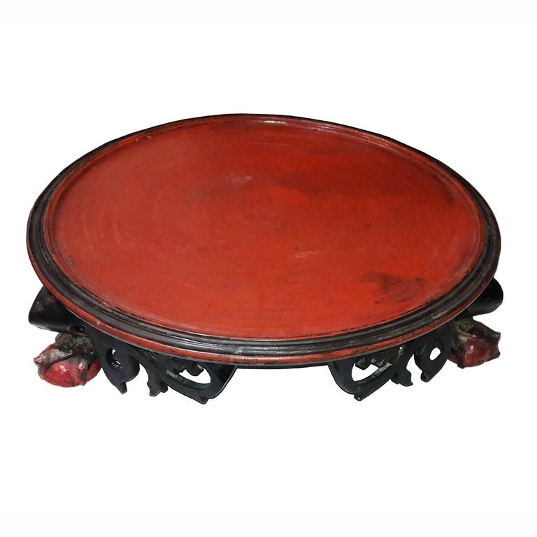 Other Mid-19th Century Lacquered Tray Table from Thailand For Sale
