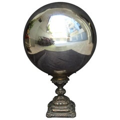 Mid-19th Century Large Mercury Glass Witch Ball, on Metal Base