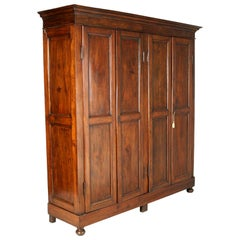 Mid-19th Century Large Neoclassic Cupboard Bookcase Wardrobe in Massive Walnut