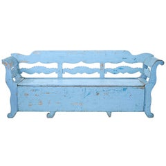 Mid-19th Century Large Painted Swedish Bench Day Bed