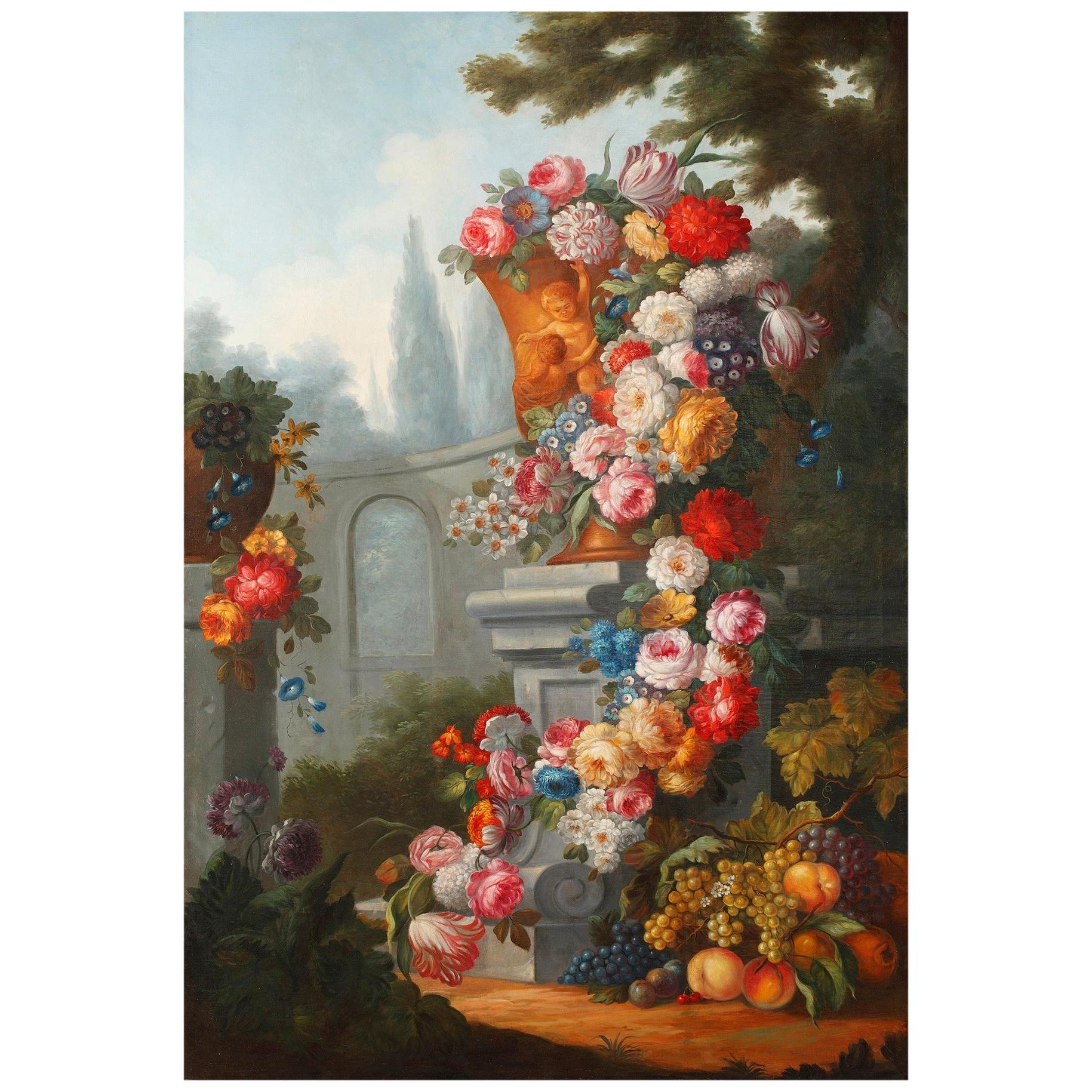 Mid-19th Century Large Painting Still Life After Gaspare Lopez