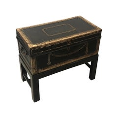 Mid-19th Century Leather and Brass Mounted Box on Stand