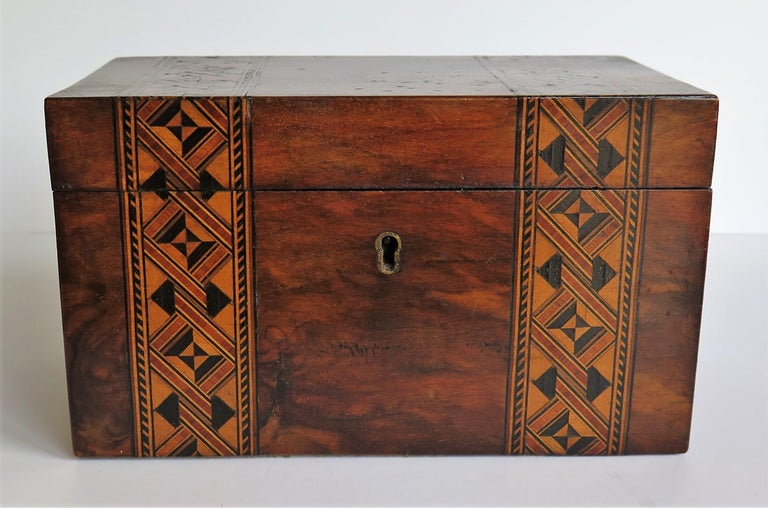 Mid-19th Century Lidded Box Walnut with Parquetry Mosaic Inlay, Mid Victorian For Sale 5