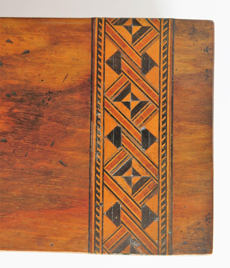 Mid-19th Century Lidded Box Walnut with Parquetry Mosaic Inlay, Mid Victorian For Sale 8