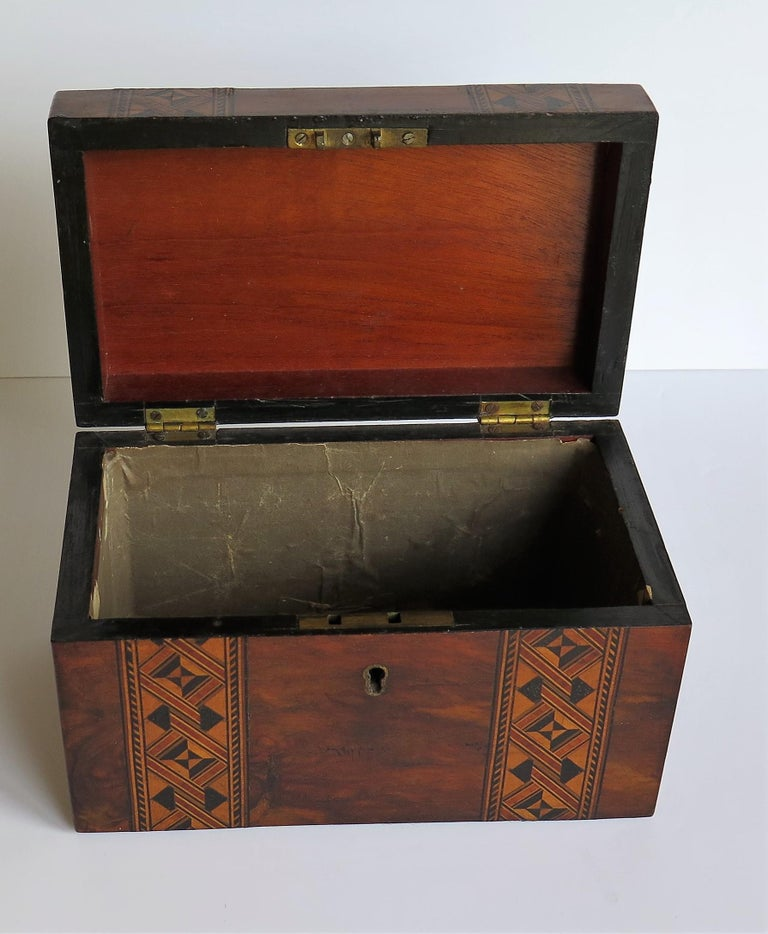 Mid-19th Century Lidded Box Walnut with Parquetry Mosaic Inlay, Mid Victorian For Sale 10