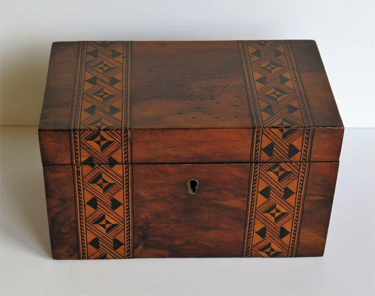 English Mid-19th Century Lidded Box Walnut with Parquetry Mosaic Inlay, Mid Victorian For Sale