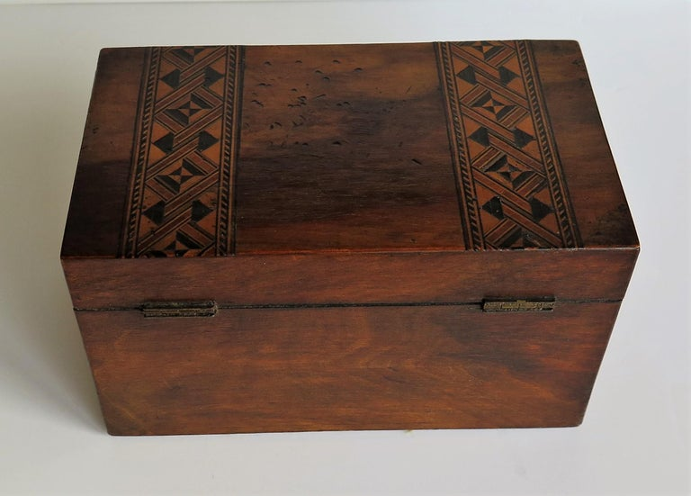 Brass Mid-19th Century Lidded Box Walnut with Parquetry Mosaic Inlay, Mid Victorian For Sale