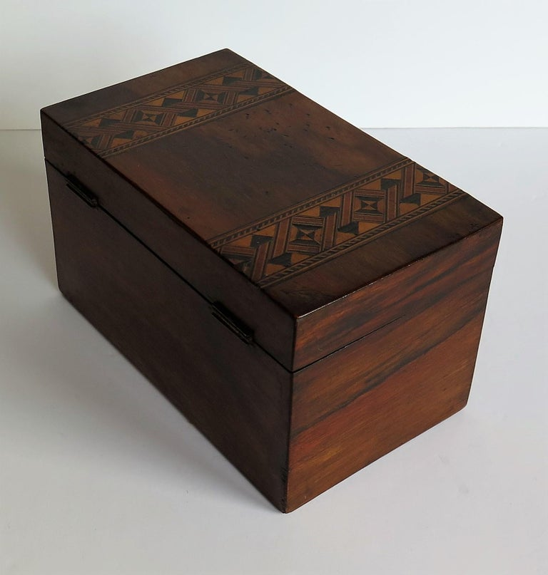 Mid-19th Century Lidded Box Walnut with Parquetry Mosaic Inlay, Mid Victorian For Sale 1