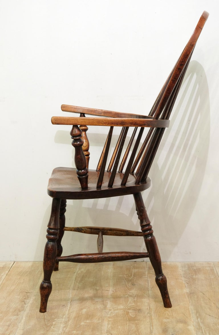 Victorian Mid-19th Century Lincolnshire Stick Back Windsor Chair in Ash and Elm, Original