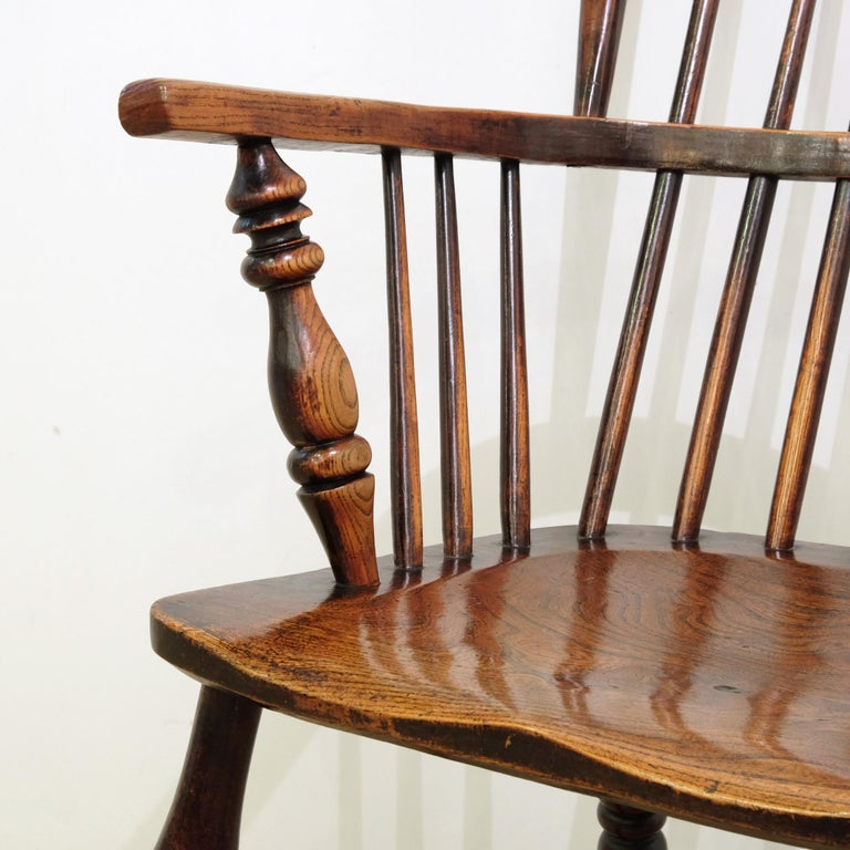 British Mid-19th Century Lincolnshire Stick Back Windsor Chair in Ash and Elm, Original
