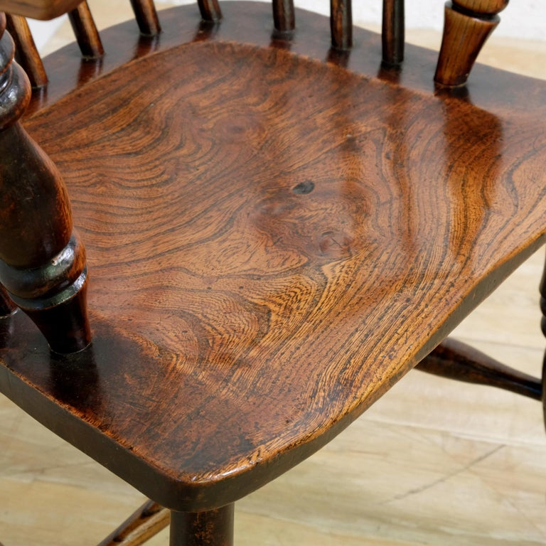 Mid-19th Century Lincolnshire Stick Back Windsor Chair in Ash and Elm, Original In Good Condition In Devon, GB