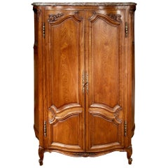 Mid-19th Century Louis XV Style Two-Door Patinated Oak Armoire